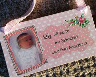 Wooden Plaque - Be My Godmother?