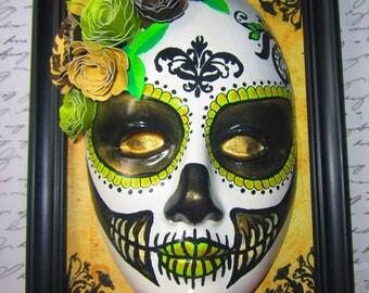Sugar Skull Framed Art (Hand Painted)