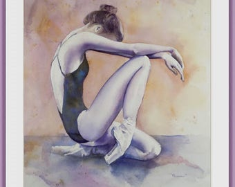 aRT PRINT OF Original watercolor '' Kami'' - Ballet dancer, Figurative, Fine art