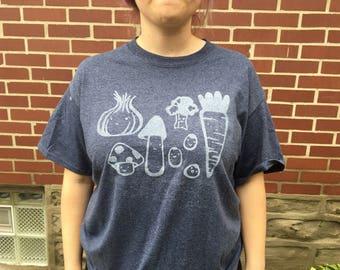 Blue Happi Veggies T-shirt with White Print