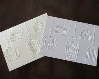 10 Embossed Thank you cards   Bridal Shower Thank you cards   Wedding Thank you Invitations   Birdcages Blank Cards   Baby Shower   Birthday