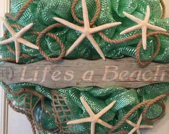 Beach Theme Deco Mesh Wreath