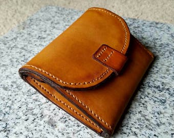 Hand made leather wallet with coin purse and card holder.