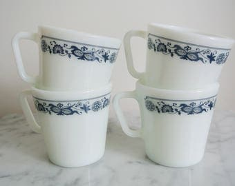 Vintage PYREX Mugs Old Town Blue 1410 Set of 4