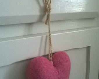 Felted heart, wool hearts, felt, heart, heart decoration, hanging decoration, home decor, Valentines day, Mothers day, felt heart ornament