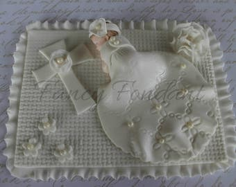 Edible Fondant 3D Christening Baby Shower Cake topper Decoration