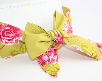 The Nova Style Hair Bow in tea rose, head wrap,  toddler, girls, bow, modern baby, ladies, girls, trendy, trendy baby, rose, floral, vintage