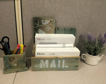 Re-claimed wooden mail organizer