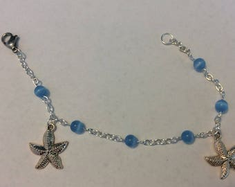 "Bracelet for women ""Blue Cat's eye and its Starfish"""