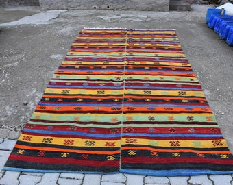 King Size Vintage Kilim Rug 5.5 x 10.2 feet Free Shipping Decorative Rug Vegetable Dyed Floor Rug Area Rug Home Decor Rug Bohemian Rug