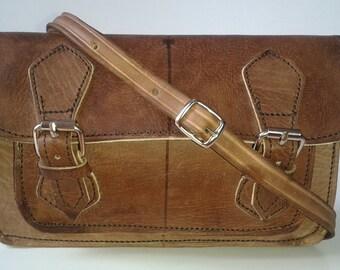 Organic leather handbag, Double buckle shoulder strap purse