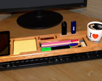 Wood Desktop Organizer/Father's Day/Boyfriend Gift/Gifts For Men/Gifts For Him/Desktop Shelf Office and Home/Keyboard Rack/Dock Station