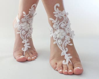 EXPRESS Ship white or ivory foot jewelry, lace sandals, beach wedding barefoot sandals, wedding bangles, anklets, bridal, wedding