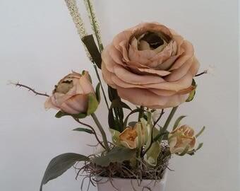 Tan Silk Flower Boquet Mini