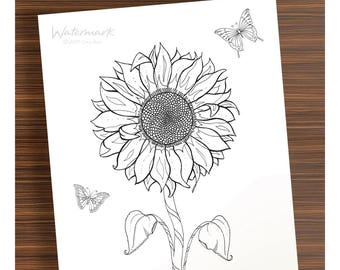 Step Into My Wonderful Adventure and color this Sunflower and Butterflies by Craig Reese
