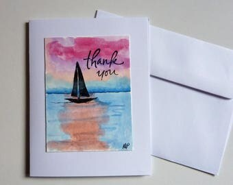 Hand painted thank you card, hand made card, sail boat, ocean, sunset, Ink and Watercolor painting, miniature painting, one of a kind card