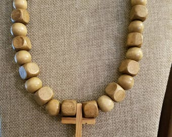 Hand Made Religious Cross Choker Style Necklace With Block And Round Beads