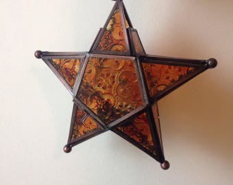 Star Amber Stain Glass tea candle lamp