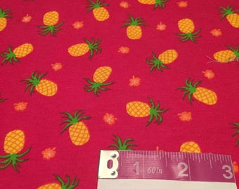 Pink Pineapple Cotton Spandex | Pineapple Fabric | Knit Fabric | S&H INCLD
