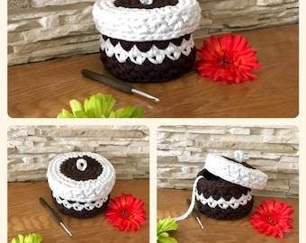 Dark Brown and White Storage Basket Crochet with lid