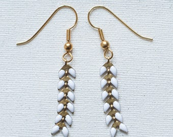Earrings gold & white - Collection * Divine in me *.