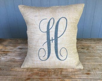 Burlap Pillow, Monogram Burlap Pillow, Rustic Pillow, Throw Pillow, Burlap Pillow, Outdoor Pillow, Custom Pillow, Canvas