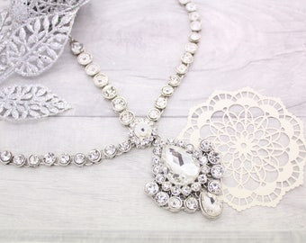 Silver Kundan Stone Pearl Indian Matha Patti Headpiece Head Chain Tikka Bridal
