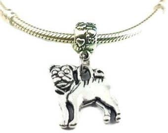 Pug Charm for Bracelet - Silver Pug Charm - Silver Pug Charm - Cute Pug Charm - Dog Charm - Fits all Charm Bracelets Christmas Gifts for Her