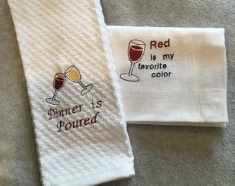2 Embroidered kitchen towels