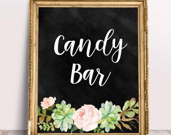 Candy Bar Sign in Chalk with Flowers, Printable Wedding Sign, Love is Sweet, Printable Wedding Decor, Instant Download,Digital File