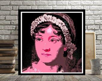 Jane Austen, Print or Canvas, Pride and Prejudice, Sense and Sensibility, Female Author, Austen Fan Wall Art Picture, Emma Writer,Literature