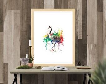 Rainbow Crane Watercolor Fine Art Print