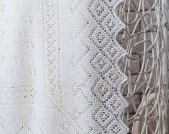 Super-fine Merino Wool Christening Shawl / Baby Shawl / Hand knitted