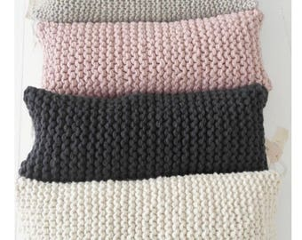 Throw Pillow | Living Room Pillow | Chunky Knit Pillow | Back Rest Pillow | White | Grey | Blush | Charcoal | Bed Pillow | Knit Cushion