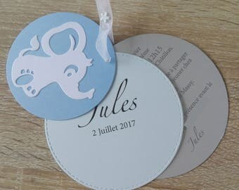 Personalized round baptism - white/gray/blue Elephant or birth announcements