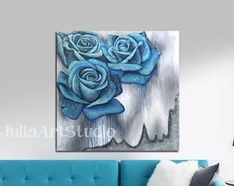 Abstract canvas art, Blue Rose cavas art, Acrylic painting with silver glitter, Textured canvas
