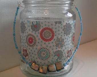 Retro flower candle jar lantern