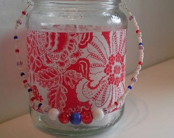 Red floral candle jar lantern