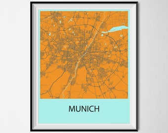 Munich Map Poster Print - Orange and Blue