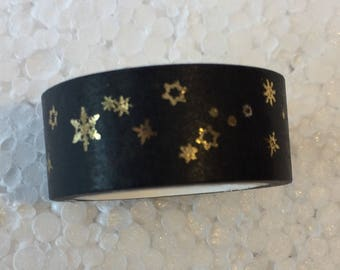 Black & Gold Snowflake Washi