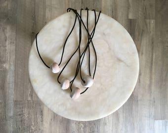 single bead necklace | white + mocha