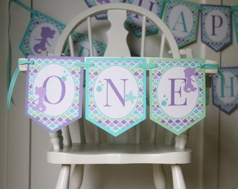 Mermaid High Chair Banner - Little Mermaid Birthday High Chair Decoration - High Chair Bunting - Mermaid Birthday Party - First Birthday