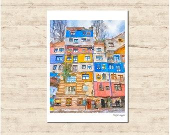 Hudertwasser House Vienna Watercolour Painting Postcard Poster Art Print Q70