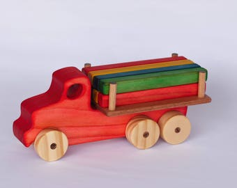 Logging Truck, Handmade wooden toy, Interactive toy.