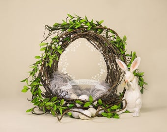 Digital Backdrop Newborn Nest Greenery with Bunny