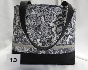Woman's handcrafted Black/White med/large tote #13