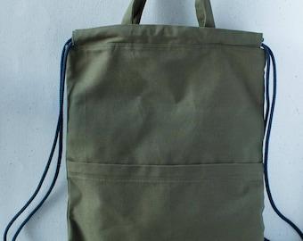 Army green canvas convertible drawstring backpack + tote bag