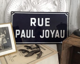 Vintage Emaille-Schild Frankreich Rue Paul Joyau / Old french road sign