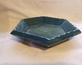 Hexagon Decorative Painted Wooden Bowl