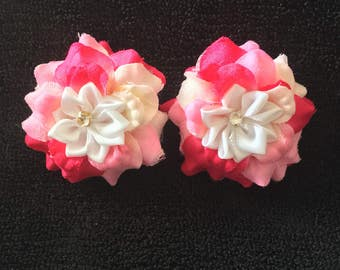Beautiful Rose and Pink Mini Hair Bows
